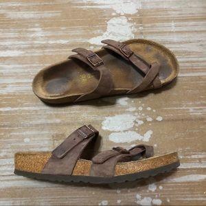 Birkenstock Mayari Brown Leather Sandal Sz 39